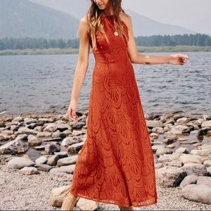 Burnt Orange Lace Maxi Dress